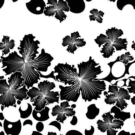 Monochrome black flowers with polka dots. Seamless floral pattern. - illustration