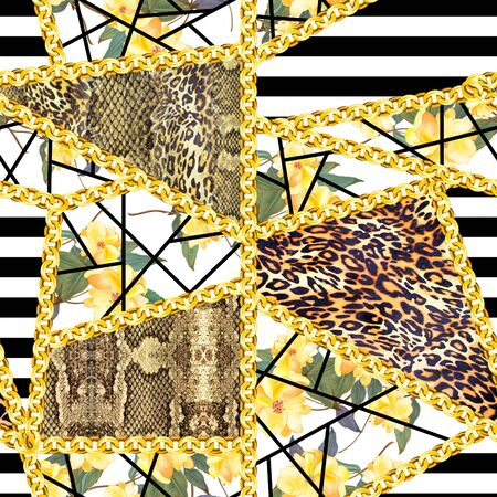 Animals skin texture with yellow flowers and gold chains on black stripes background. Seamless fashion pattern. - illustration Standard-Bild