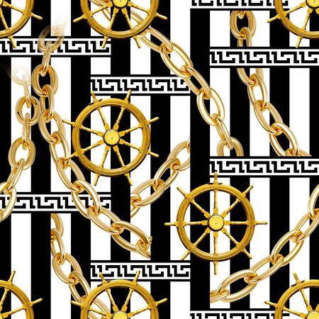 Seamless rudder, gold chains, border pattern on black white stripes background. - illustration. Stock fotó