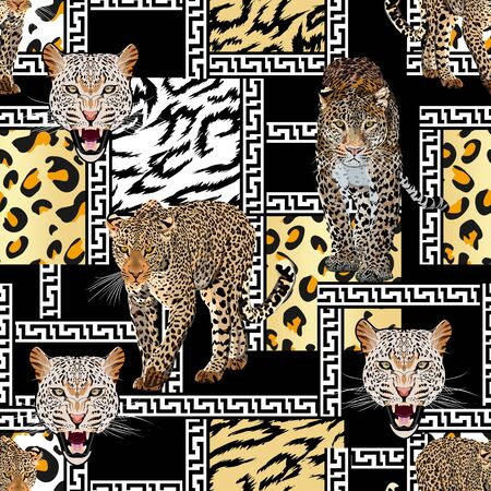 Leopard seamless pattern with black white borders. Animal skin texture. Walking cheetah. - illustration