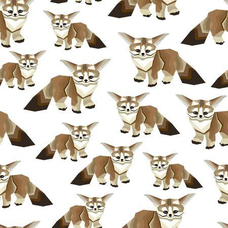 Little fox seamless pattern. Cute animals background. - illustration