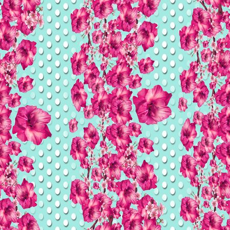 Seamless pink flowers pattern with white polka dots. Monochrome floral background.Fashionable print. - illustration Stock fotó
