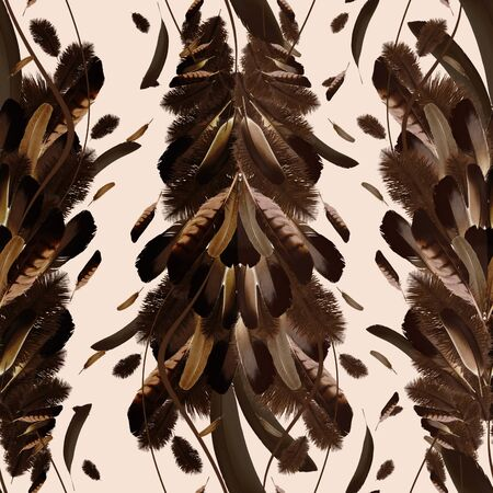 Seamless brown feather pattern.Natural background. - illustration