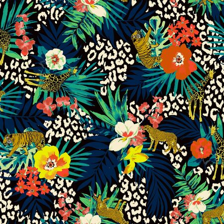 watercolor tropical flowers pattern with wild animals on black background. Fashionable print for fabric or paper. - illustration