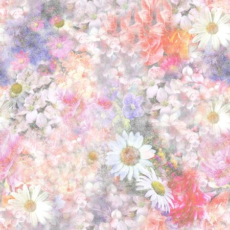 Pastel color flowers.Daisy blossom pattern for fabric or paper print. - illustration