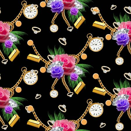 Colorful seamless roses pattern, green tropical leaves on black background with luxury golden accessories. - illustration