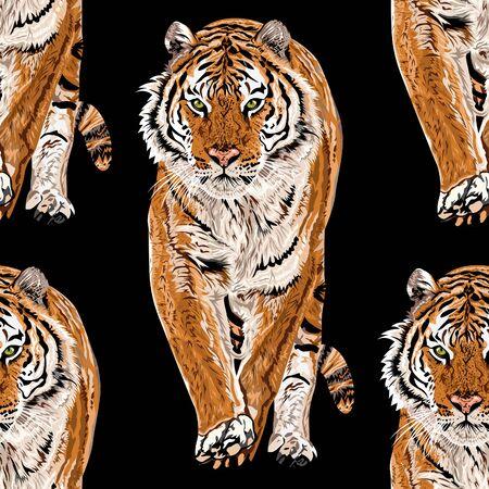Vector sketch of walks bengal tiger.Seamless leo pattern.Animal print.Wildlife. - Vector.