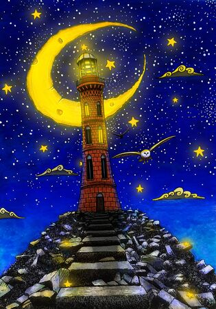 Watercolor lighthouse illustration in the night. Hand drawn cover of story book.Owl, moon, clouds, stars,