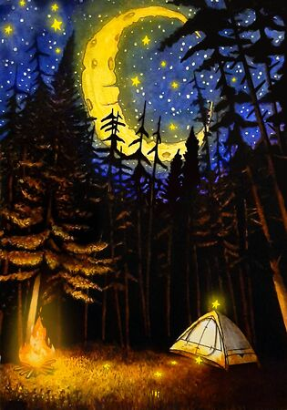 Watercolor Night Camping Illustration, Moon, Stars, Tree, Fire, Drawing. Hand Drawn Painting.