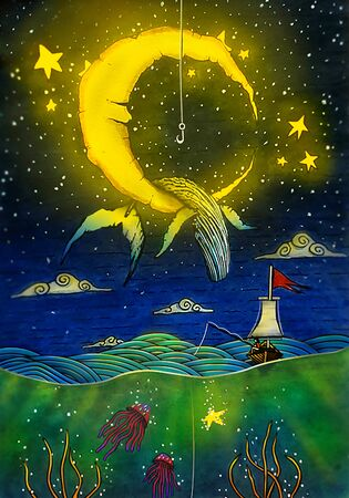 Fishing at Night illustration, Watercolor Nature Drawing, Whale, Moon, Stars, Jelly Fish, Clouds Painting