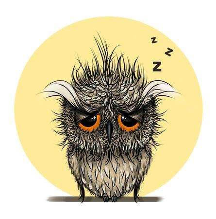 Owl Digital illustration.Sleepy bird.Hand Drawn Animal Drawing