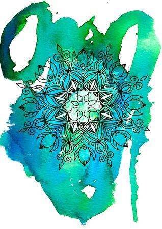 Watercolor mandala.Hand Drawn Geometric Pattern. - illustration