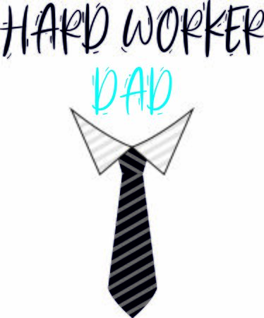 Hard worker dad greeting vector illustration for father's day or birthday