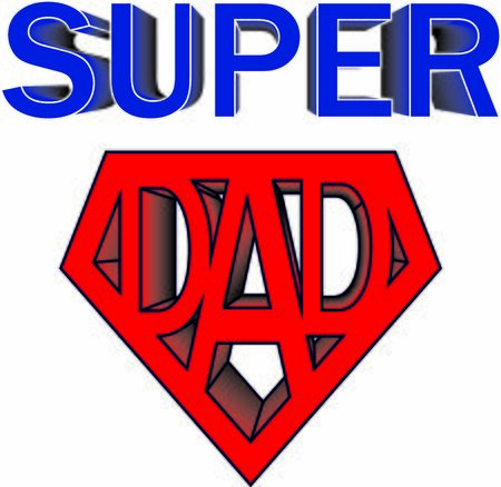 Super dad vector illustration, greeting print for father's day or birthday