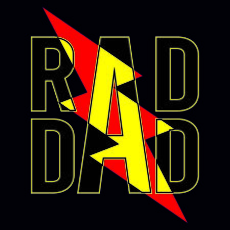 Rad dad vector funny greeting image for father's day or birthday with dangerous emblem.