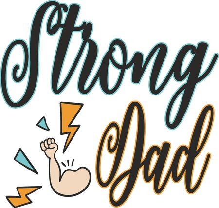 Strong dad greeting vector card or t-shirt print for father's day and birthday gift  イラスト・ベクター素材