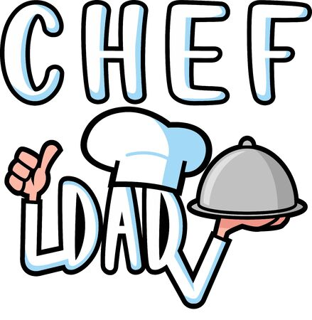 Chef dad vector greeting, celebration card print for father's day and birthday gift