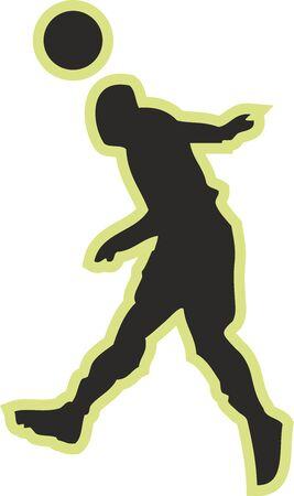 Football players silhouette, Sports digital illustration