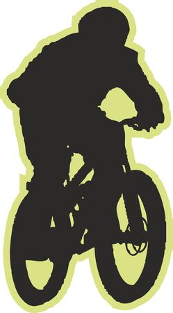 Cyclist sports silhouette, Hand drawn digital illustration