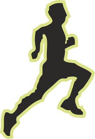 Athlete Running Digital illustration, Sports Silhouette