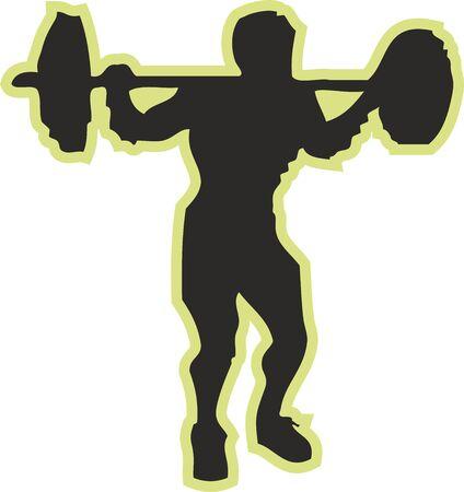 Bodybuilding sports silhouette, Digital illustration
