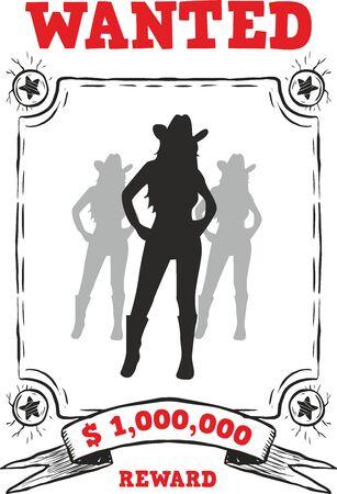 Cowgirl Digital Illustration, Wanted Girls, Silhouette Design, Cowboy Print Stock fotó