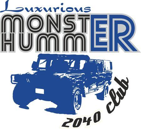 Offroad Luxurious Monster Vehicle, Hand Drawn Digital illustration,T-shirt Print