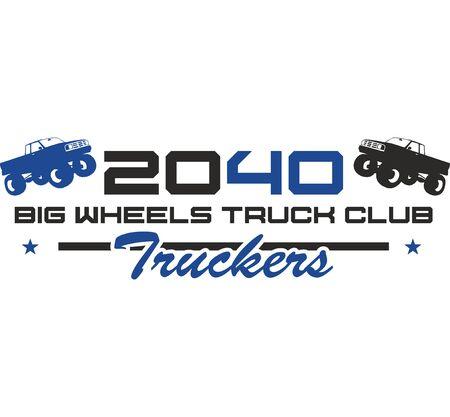 Truckers,Big Wheels Truck Club Digital illustration.Hand Drawn T-shirt Print Stock fotó