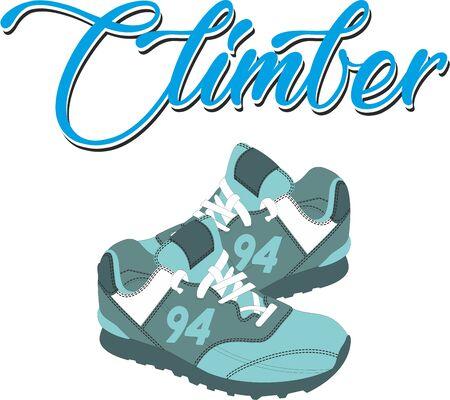 Climber Sneakers Digital Illustration, Hand Drawn T-shirt Print.