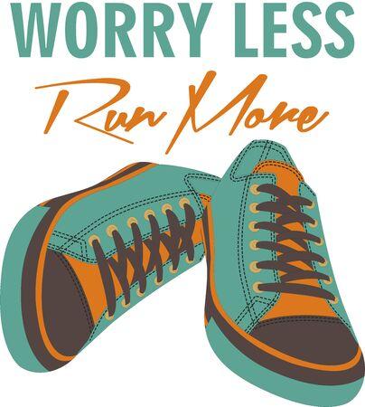 Worry less run more t-shirt print.Hand drawn digital illustration Stock fotó