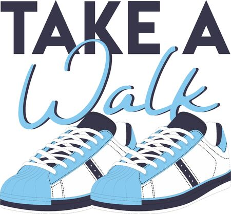 Take a Walk Digital Illustration, Hand Drawn T-shirt Print Stock fotó