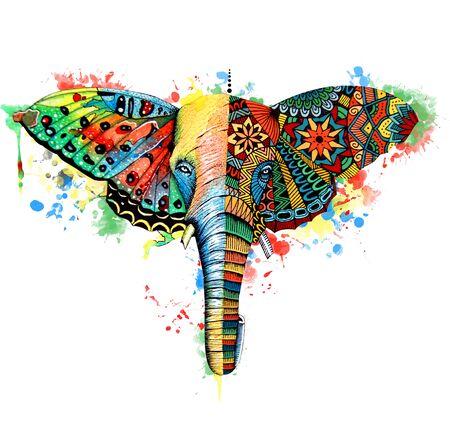 Butterfly,elephant watercolor illustration. Hand drawn digital artwork
