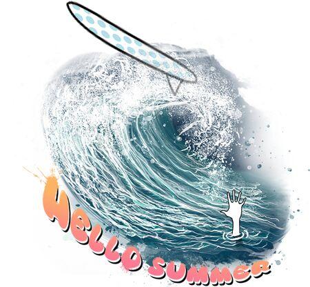 Surfing Cartoon Illustration.Hand Drawn Digital Art.Surf Lovers Design