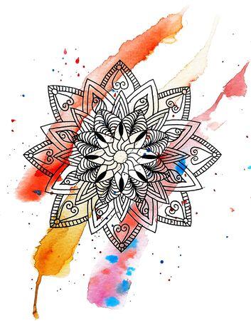 Watercolor Mandala Pattern.Hand Drawn Colorful Geometric Illustration