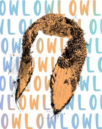 Flying Owl Digital Illustration, Animal Print for T-shirt or Papers.