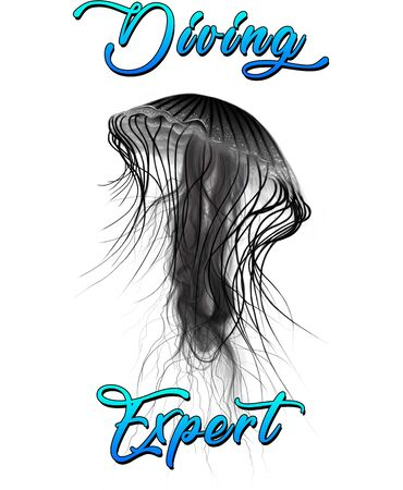 Diving Expert Jellyfish Hand Drawn Digital Illustration