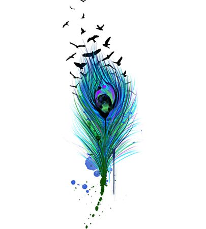 Peacock Feather Hand Drawn Illustration.Digital Art