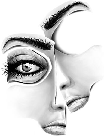 Puzzle Faces Hand Drawn Illustration.Digital Artwork Stock fotó