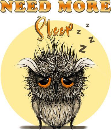 Need More Sleep Owl Digital Illustration, Hand Drawn T-shirt Print, Bird Design Stock fotó