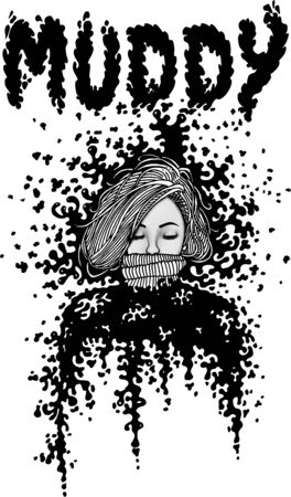 Black and White Inked Girl Muddy Illustration, Woman Silhouette Print Stock fotó