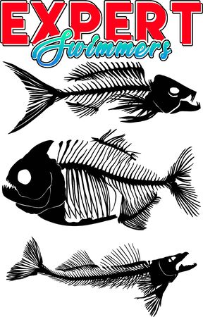 Expert swimmers fishes silhouette, Hand drawn digital illustration, Animalst-shirt print Stock fotó
