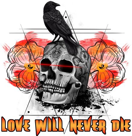 Love Will Never Die Skull and Crow Digital Illustration, Tattoo Design