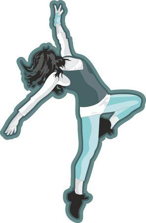 Dancer Girl Digital Illustration, Hand Drawn Girl Silhouette, T-shirt Print Stock fotó