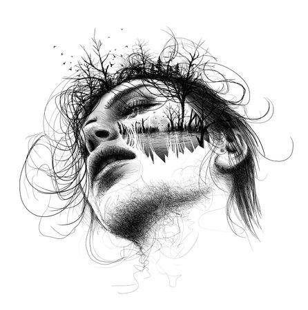 Melancholy hand drawn sketch.Love story.Digital painting. - illustration