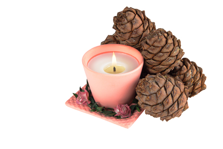 one pink candle and pine cones on a white background