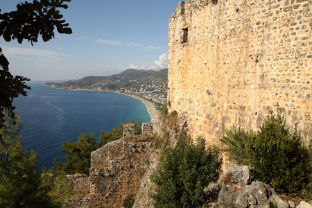 Alanya, view of Cleopatra beach from a height on a sunny summer day Imagens