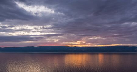 view of the gorgeous sunset from the island of Olkhon on Lake Baikal