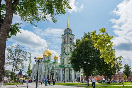 Russia, Tula August 03, 2019 view of the Epiphany Cathedral in the Tula Kremlin on a sunny summer day