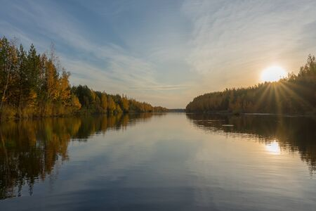 beautiful view of the nameless lake in the suburbs of Moscow, photo taken in September 2019 in the early morning
