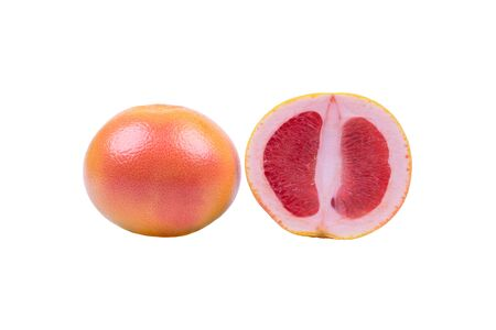 Ripe grapefruit on white